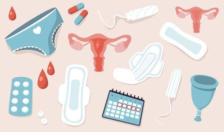 Periods. Menstruation. Modern vector cartoon uterus illusration.