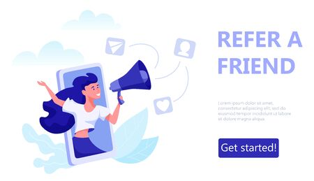 Refer a friend concept. Woman reports in megaphone about referral program. 向量圖像