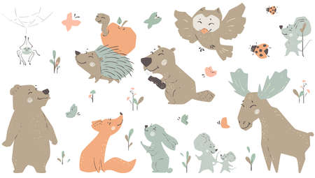 Forest fiends baby cute print. Moose, hedgehog, bunny, beaver, owl, bear, fox. 向量圖像