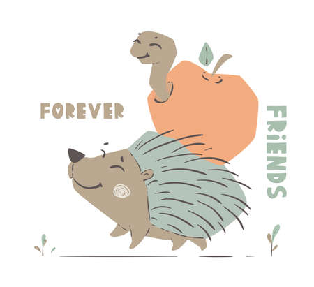 Hedgehog and worm baby cute print. Forest fiends walk togeter.