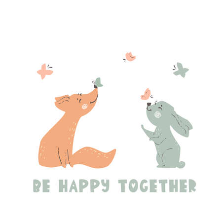 Fox and bunny baby cute print. Forest friends enjoy butterfly together