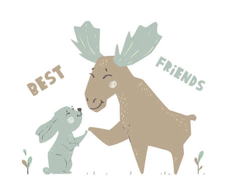 Moose and banny baby cute print. Forest fiends. Elk and hare togeter. 向量圖像