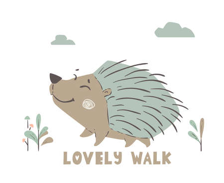 Hedgehog walk baby cute print. Forest fiends.