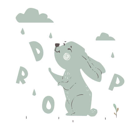 Bunny and rain drops baby cute print. Forest fiends. Sweet hare.