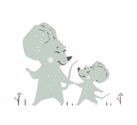Mouse and mousekin baby cute print. Forest fiends walk togeter.