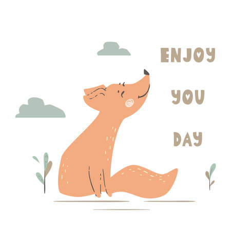 Fox baby cute print. Forest friends. Enjoy you day. 向量圖像