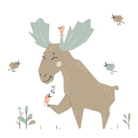 Moose baby cute print. Forest fiends. Elk listening to birds singing.