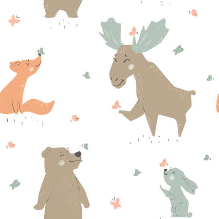 Forest animals seamleaa pattern. Cute wild fiends baby print. 向量圖像