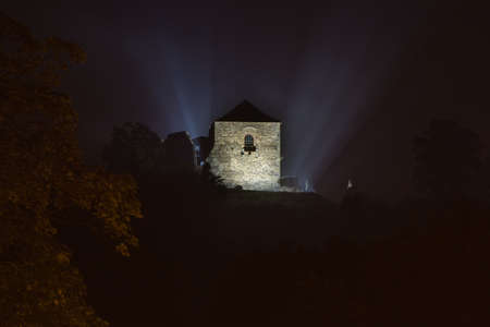 castle district: Night time view on castle ruins Potstejn. Potstejn with the municipality Hradec Kralove Region in Rychnov nad Kneznonou District Czech Republic. During a siege of the castle Mikulas Died in the ruins the castle was later rebuilt by King Charles IV.