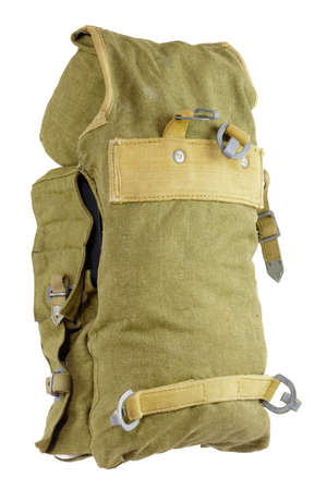 back pack: German WW2 Engineers Pionier Assault Back Pack. Hard to find midle part form Engineers (Pionier) assault back pack. Material canvas with metalic parts. Stock Photo
