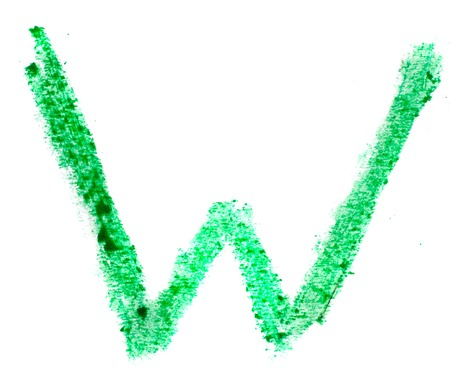 hand made pictured: W letter painted on a white background   Stock Photo