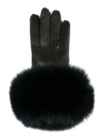 furskin: modern woman leather gloves isolated on white