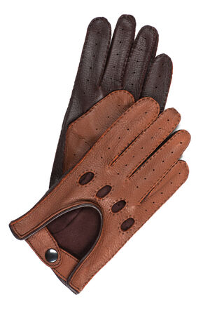furskin: modern man leather race gloves isolated on white