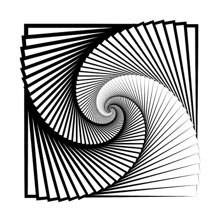 Abstract, swirl of infinity, swirl geometry, endless spiral, patern, sheet of paper swirling towards the center, ridge to infinity, square, vector