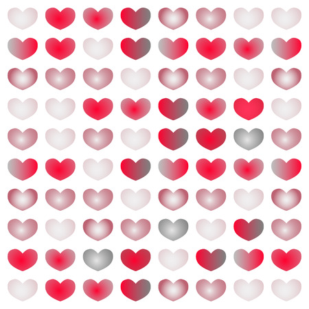 cute hearts set gradient from white to red