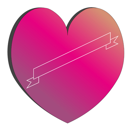 heart of a hipster billet for a tattoo gradient from purple to a color of a sunset isolated