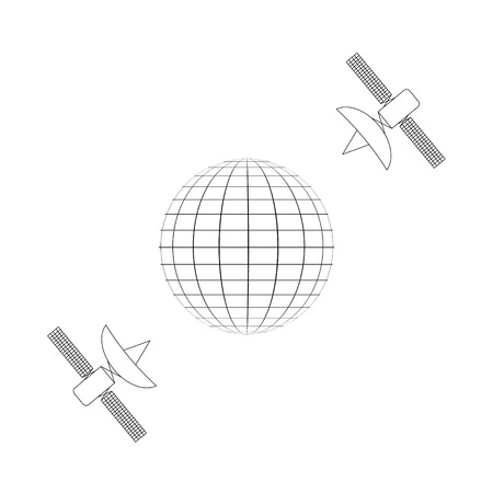 communication via satellite, planet and satellite be always on the network, vector Illustration