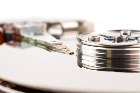harddisk: The read head hard disk closeup