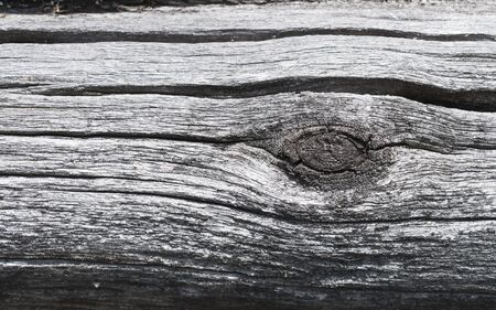 The surface of old weathered logs with a knot