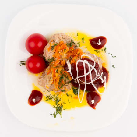 Meat balls with tomato sauce filled with cherry tomatoes  Top wiev Stock Photo - 17631636