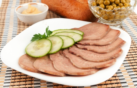 Sliced ​​beef tongue with cucumber Stock Photo - 17631395
