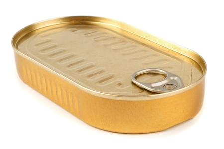 sprats: Closed gold metal tin isolated on white background