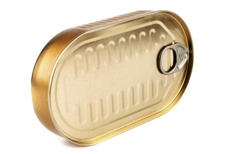 Closed gold metal tin isolated on white background Stock Photo - 17750077