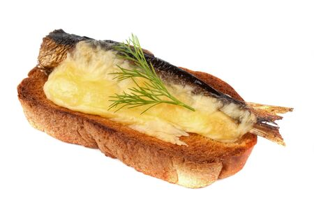 Sandwich with sprats and grilled cheese  On a white background