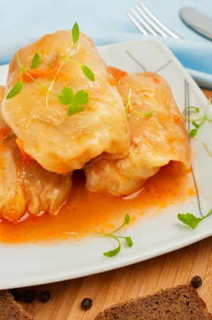 Vegetarian Cereal Food - Stuffed Cabbage Roll with Vegetables Stock Photo