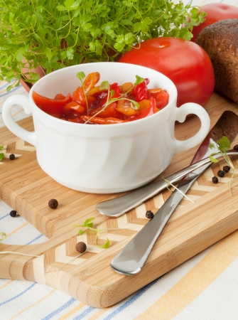 Lecho traditional Hungarian dishes  In a white ceramic cup  Stock Photo