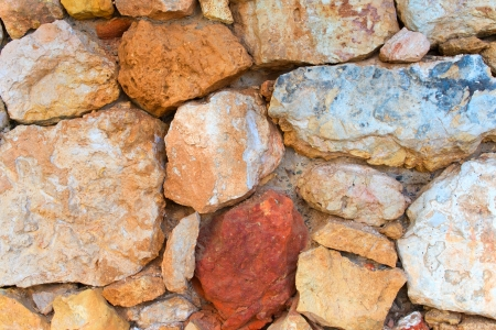 coquina: Stone wall of large limestone rocks  Stock Photo