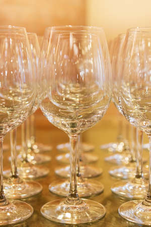 alcohol series: Empty wine glasses  On the tasting table