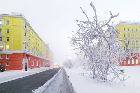NORILSK, RUSSIA -JANUARY 06, 2014  Leninsky Prospekt  Central is the main and the longest street of the city