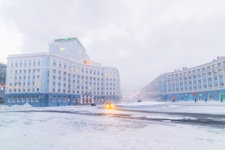 NORILSK, RUSSIA -JANUARY 06, 2014  Severe frost in Norilsk  The thermometer in the town square shows -46 degrees Celsius  新聞圖片