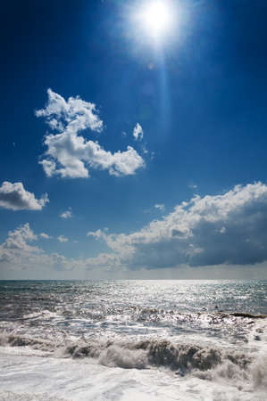 Storm waves on a sunny day  Stormy weather  Stock Photo