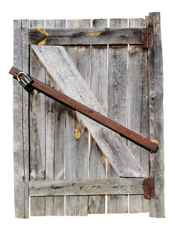 Old weathered wooden door  Isolated on white background