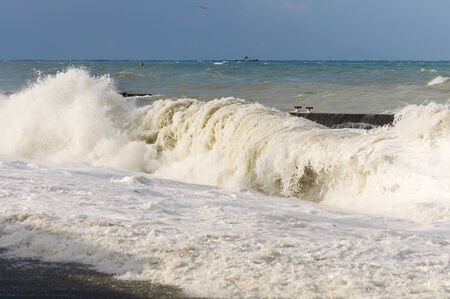 Stormy sea  High storm surges  Stock Photo