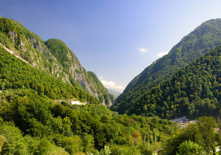west virginia trees: Ahtsu mountain gorge  The road to Krasnaya Polyana area of Sochi Russia  Stock Photo