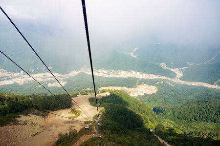 Krasnaya Polyana Sochi. View from the cable car cabins. Stock Photo