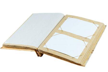 deployed: Vintage photo album cardboard deployed page. Isolated on white background. Stock Photo