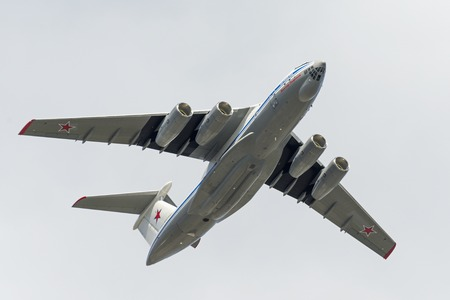 may fly: MOSCOW, RUSSIA - MAY 07, 2016: Ilyushin IL-76TD-90 fly over Red Square. Dress rehearsal of the Victory Day parade on Red Square.