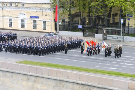 multiple targets: MOSCOW, RUSSIA - MAY 07, 2016: Sailors marching formation for Moskvoretskaya waterfront. Dress rehearsal of the Victory Day parade on Red Square.