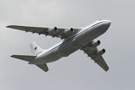 may fly: MOSCOW, RUSSIA - MAY 07, 2016: Russian Air Force An-124 Ruslan Condor heavy transport aircraft fly over Red Square. Dress rehearsal of the Victory Day parade on Red Square.