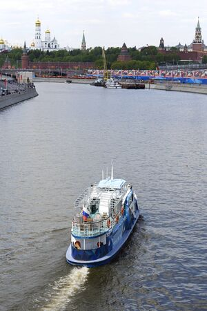 pleasure boat: MOSCOW, RUSSIA - MAY 07, 2016: Pleasure boat on the Moscow River. Summer 2016. The passenger pleasure boat Maria - a small vessel Moskvich series (Project 544)