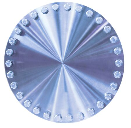 brushed aluminium: Shiny metal circle with bolts placed on the perimeter. Toning in the color blue industrial cold metal. Isolated on white background.