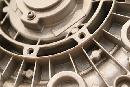 plurality: Detail of the electric motor housing. The back cover with a plurality of fins for cooling. Powder coated, granular surface. Stock Photo