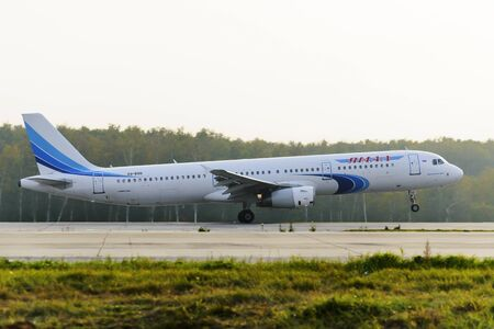 turbojet: MOSCOW, RUSSIA - SEPTEMBER 26, 2014: Airbus A321 Yamal Airlines take off at Domodedovo international airport