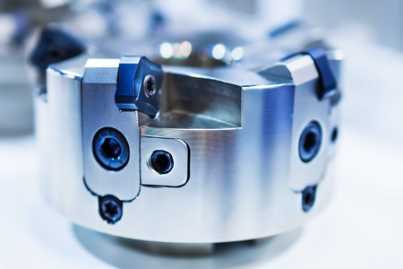 rapid steel: Modern milling cutter with indexable inserts. Shallow depth of field. Stock Photo