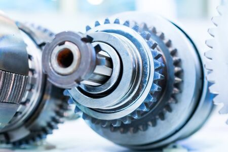 friction: Gears, impaled on the shaft spline. Friction clutch machine tool. Stock Photo