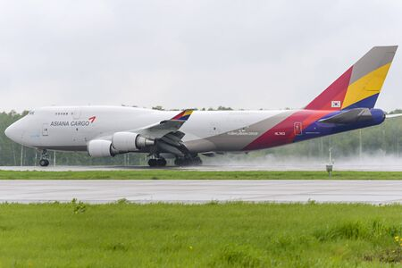 MOSCOW, RUSSIA - MAY 19, 2016: cargo airplane Boeing 747 Asiana Cargo take off to the runway at Domodedovo International airport.